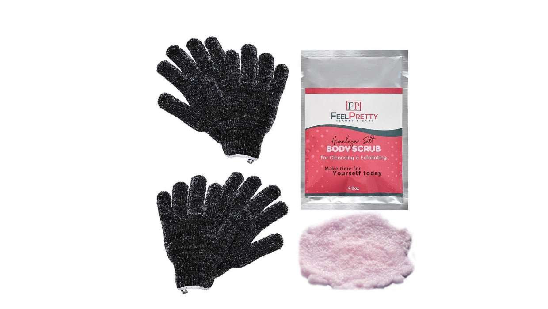 Exfoliating Gloves With Pink Himalayan Salt