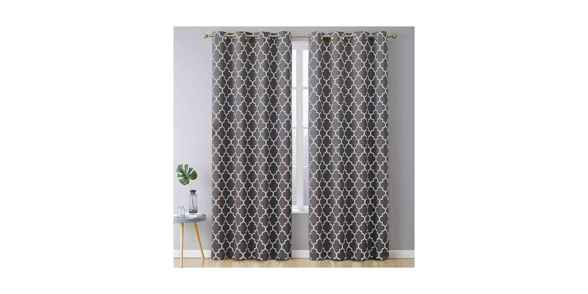HLC.ME Lattice Print Pattern Thermal Insulated Blackout Room Darkening Energy Efficient Window Curtain